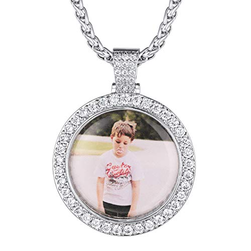 Men Women Personalized Pendant Engrave/Image Print Necklace with Wheat Chain Birthday Gift