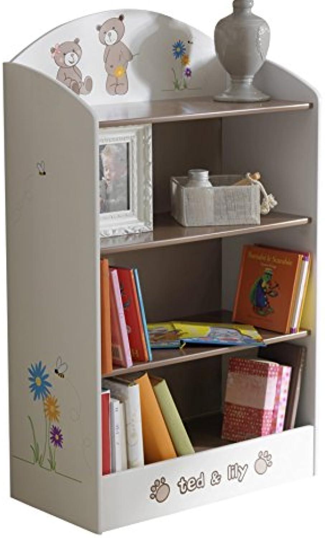 Demeyere 234548 Bücherregal Ted und Lily für Kinderzimmer 60 x 100 x 30 cm, beige   chocolate