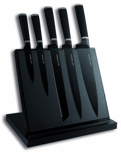 Tarrerias Bonjean Le Couteau du Chef 443610 Messerblock, magnetisch, mit 5 Küchenmessern, Klinge Edelstahl, mit Antihaftbeschichtung, Karbonschwarz