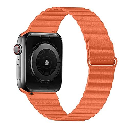 Correa de bucle de cuero de PU para Apple Watch Band 44 mm 40 mm Reemplazo para IWatch Series 6 5 4 3 2 Correas de reloj Pulsera 42 mm 38 mm Pulsera-Sunset, 40 mm 38 mm