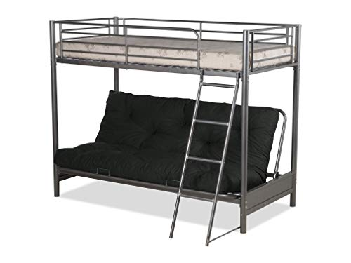 Humza Amani FUTON BUNK BED (With One Futon Mattress) IN SILVER METAL FINISH (Black)