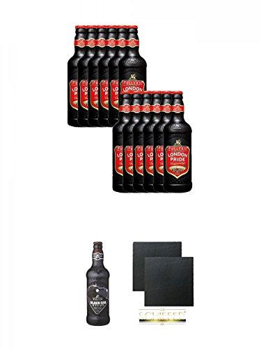Fuller`s London Pride Bier 12 x 0,5 Liter + Fuller's London Black Cab Stout Bier 0,5 Liter + Schiefer Glasuntersetzer eckig ca. 9,5 cm Ø 2 Stück