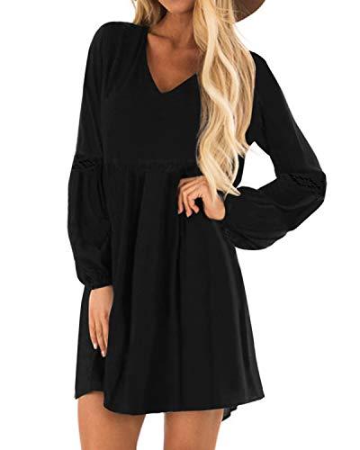 YOINS Sexy Kleid Damen Sommerkleid für Damen Babydoll Kleider Brautkleid Tshirt Kleid Rundhals Langarm Minikleid Langes Shirt Lose Tunika Strandkleid Baumwolle-schwarz XL