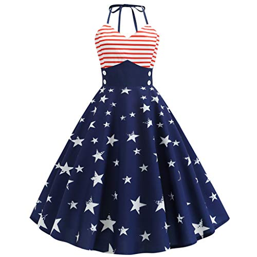 Why Choose Women Female July 4th T Shirt Dress Flag Printed Evening Party Prom Swing Dress Overall B...