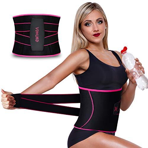 VOHUKO Sauna Waist Trimmer, Women Waist Trainer, Neoprene Sweat AB Belt with Adjustable Pressure Straps,Slimming Body Shaper Belt, Weight Loss Back Support Belt
