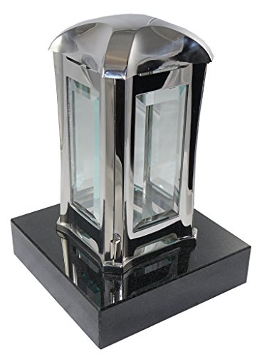 Kunst-Art-Köhl Edelstahllaterne EMSL06 Oberfläche glänzend montiert auf einem Granitsockel (Größe Sockel 20cm x20cm x5cm, Black)
