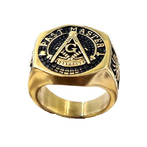 Vintage Past Master Anillos De Sello Masónico Color Dorado Titanio Acero Inoxidable Freemason Free Mason Ring Para Hombres Joyería Tamaño 10