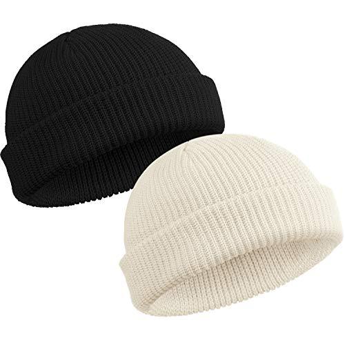 SATINIOR Trawler Beanie Watch Hat Roll up Edge Skullcap Fisherman Beanie for Men Women (Black, White, 2)