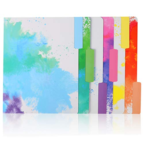 12 Pack Decorative File Folders, 1/3 Cut Tab, Rainbow Watercolor Splash Design, 9.5 x 11.5