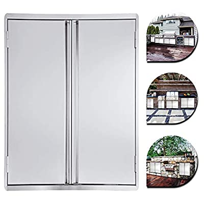 Minneer Outdoor Kitchen Door 17x24 Inch Double Wall BBQ Access Door, 304 All Brushed Stainless Steel Double BBQ Door for BBQ Island, Outside Cabinet, Barbecue Grill,Outdoor Kitchen