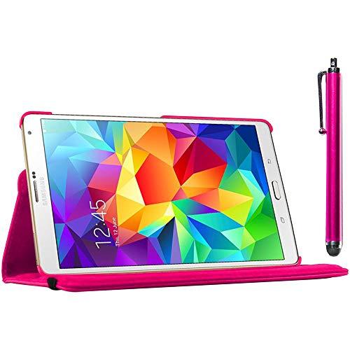 ebestStar - kompatibel mit Samsung Galaxy Tab S 8.4 Hülle SM-T700, SM-T705 Rotierend Schutzhülle Etui, Schutz Hülle Ständer, Rotating Case Cover Stand + Stift, Pink [Tab: 212.8x125.6x6.6mm, 8.4'']