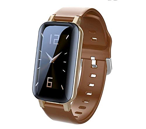 OOFAY 2 in 1 Smartwatch Mit Kabellosen Bluetooth Kopfhörer, Fitness Armband Wasserdicht Fitness Uhr Mit Ersatzarmband Aktivitätstracker Schrittzähler Schrittzähler Für Kinder Damen Herren,Braun