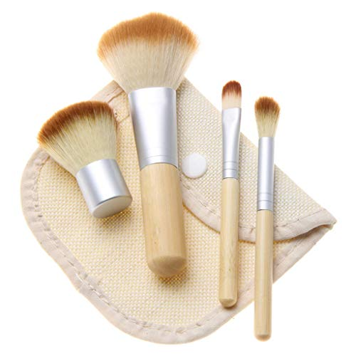 Ckssyao 4 Make-up Brush Set - Bamboe Handvat Schoonheid Tool Oogschaduw Borstel/Stichting Borstel/Blush Borstel, Draagbare Mini Borstel Geschikt voor Uitgaan