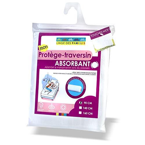 Linge des Familles - Protège Traversin 90 cm - Doux et Absorbant - Molleton 100% Coton - Forme Housse - Certifié Œko-Tex®