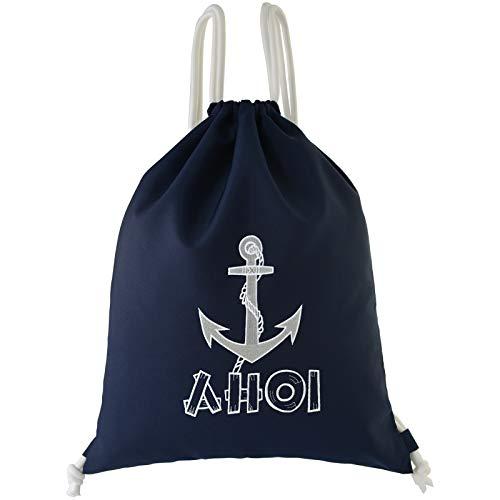 Bolsa de deporte impermeable azul marino AHOI con ancla, mochila de gimnasio, bolsa hipster, bolsa de vela, mochila, mujer, barco, bolsa de deporte, para niñas, moderna bolsa de playa