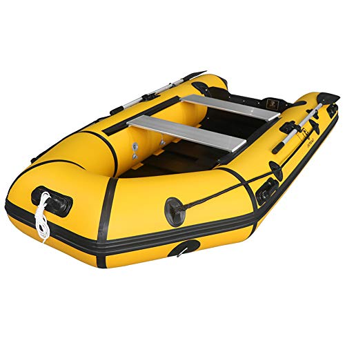 Outroad Inflatable Dinghy Fishing Boat 10 FT, Sport Tender Raft Deep Bottom and Trolling Motor Transom, 4 Person Seats w/Two Paddles -Yellow