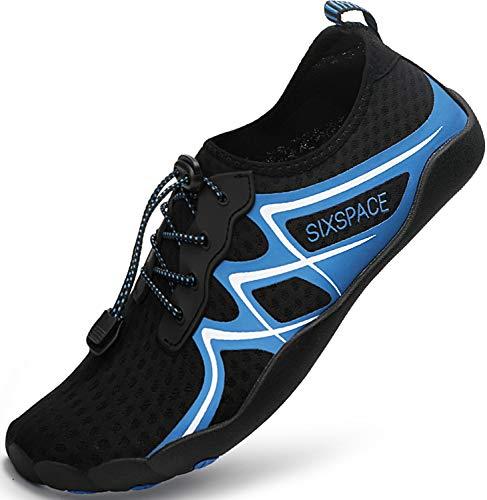 Sixspace Badeschuhe Damen Wasserschuhe Strandschuhe Barfussschuhe Herren Traillaufschuhe Fitnessschuhe Wanderschuhe Sports Schuhe Blau 37 EU