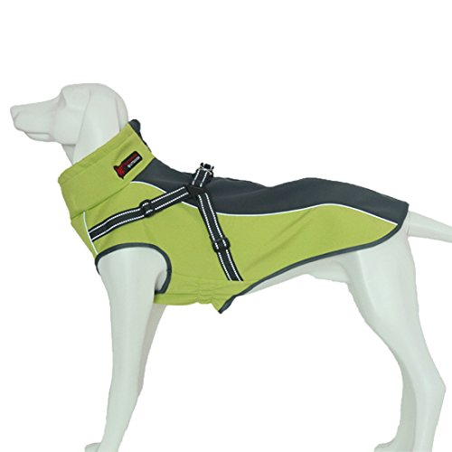 GWELL Hund Hundejacke Wasserdicht Fleece gefüttert Regenjacke Winterjacke Funktion Weste mit D-Ringe Gurt für Mittelgroßen Großen Hund Winter Herbst Grün&Schwarz XL