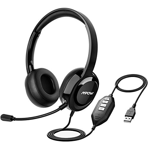 Mpow ENC USB Headset with Detachable Microphone for PC, Wired Over Ear Cell Phone Headphones...