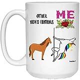 N\A Funny Best Video Editor Unicorn Birthday Taza de café Blanca