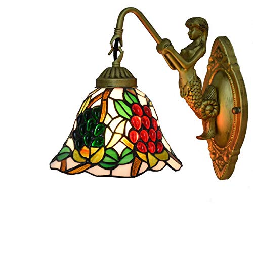 LONGWDS Lampada da Parete Lampada da Parete Black Bottom UVA Americana Tiffany Stained Glass Soggiorno Sala da Pranzo Camera Bar Club Aisle Balcone Decorazioni di Tiffany Luce Lampada da Parete
