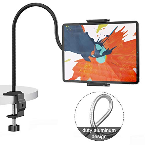 Klsniur Gooseneck Tablet Holder, Universal Tablet Stand 360 Flexible Lazy Bracket Clamp Long Arms Mount Compatible with iPad Air Pro Mini, Samsung Tab, Nintendo Switch and Other 4.7\