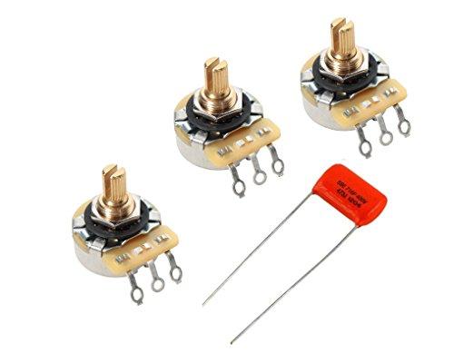 CTS 250K Short Shaft Audio Pots Lot of 3 (3X) 450G Series w/Orange Drop .047uF Cap
