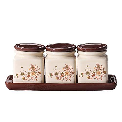 ZLDGYG Herramienta de condimento de Cocina azucarero Olla de condimento de cerámica Juego de 3 Piezas, Caja de condimento de tazón de Sal para el hogar con Tapa