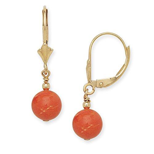 Jewelryweb Pendientes colgantes colgantes de oro amarillo o blanco de 14 quilates con piedras preciosas de coral de imitación (oro blanco)