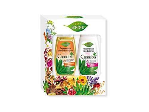 Bione Set de regalo 100% orgánico de cannabis/aceite de cáñamo. Se compone de champú y acondicionador sin aceite mineral, siliconas, parabenos, SLS.