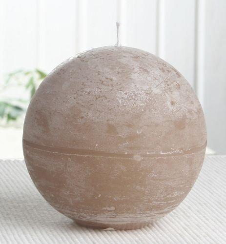 Rustik-Kugelkerze, 10 cm Ø, sand