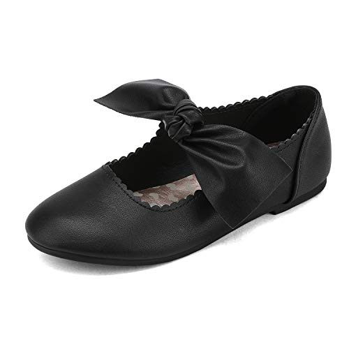DREAM PAIRS Girls Ballerina Flats Mary Jane Front Bow Dress Shoes Black Size 1 Little Kid Angie-5