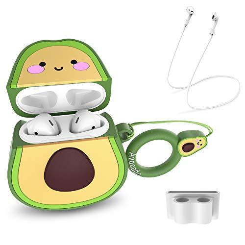 CE-Link Fruta Aguacate Funda para Airpods 1 & 2 Case Cover Silicona Protective Carcasa Cute Lindo Dibujo Animado en 3D con Llavero Blanco Diseño de Soporte de Clip de Correa para Niñas Niños