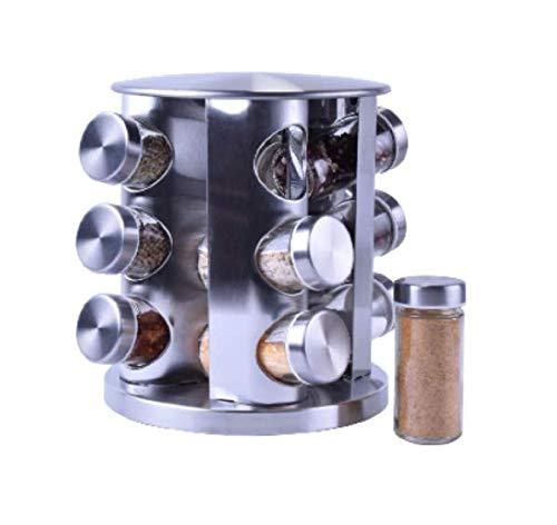 El nuevo multifuncional 430 de hierro inoxidable rotativo de la cocina del polvo del estante del condimento del estante de apoyo del tarro de vidrio