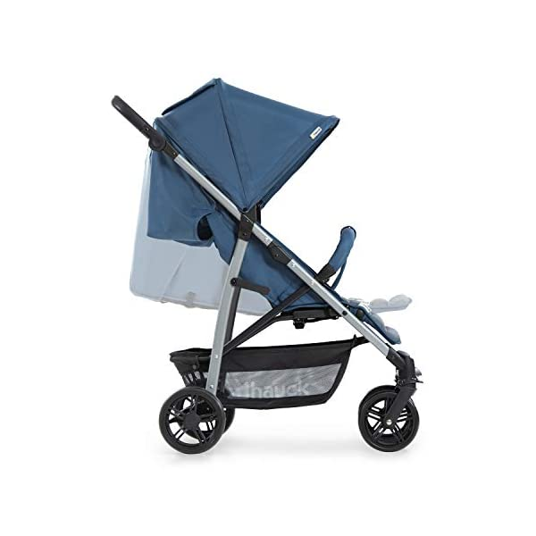 Hauck Rapid 4, 0 Months to 22 kg, Foldable, Compact, with one Hand, with Sleep Position, Height Adjustable Handle, Large Basket - denim/grey, Rapid 4, Up to 25 Kg Hauck Easy folding this pushchair is as easy to fold away as possible - the comfort stroller can be folded with one hand only within seconds, leaving one hand always free for your little ray of sunshine Long use this buggy can be used for a very long time. it is suitable from birth (also compatible with 2in1 carrycot or comfort fix infant car seat) up to a maximum of 22kg Comfortable back friendly push handle adjustable in height, the hood extendable; suspension, swivelling front wheels, soft padding, and large shopping basket 31