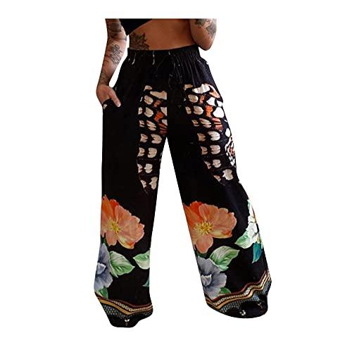 Pantalones Verano Mujer con para Verano Estampado Cintura Alta Pierna Ancha Largos con Bolsillos en Harem Aladdin Bohemio Yoga Pantalon