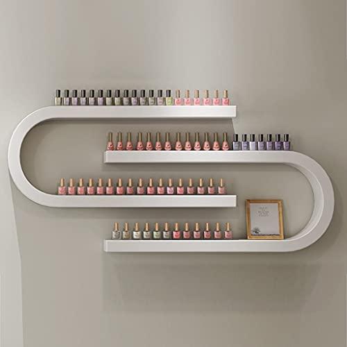 Display ZYY~ Estante de pared de esmalte de uñas, soporte de almacenamiento de esmalte de uñas en forma de U de metal, salón de uñas, maquillaje, cosméticos de almacenamiento de acabado