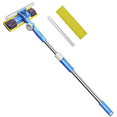 FRMARCH Professional 3-in-1 Window Squeegee -Microfiber Extendable Window Scrubber Washer Cleaner Tools Kit 180 Rotatable Window Cleaning Squeegee for High Window, Car or Shower
