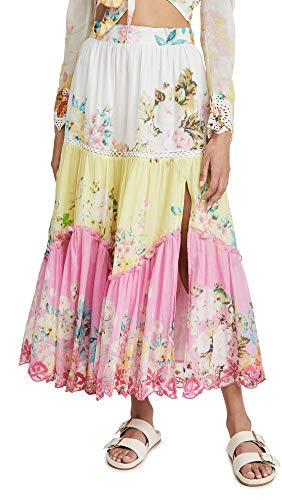 Hemant and Nandita Women's Midi Skirt, Tricolor, Floral, Pink, X-Large