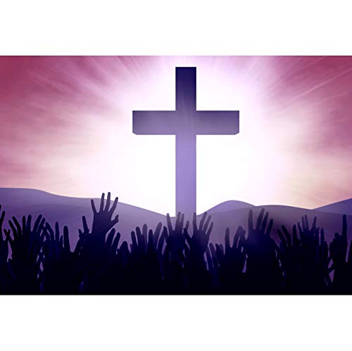Laeacco Holy Cross Backdrop 8x6.5ft Good Friday Vinyl Photography Background Holy Light Jesus God Bless Worship Cucoloris Raised Hands Christ Saint Pentecostal Halloween Portraits Shoot Decor Poster