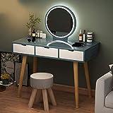 N/Z Living Equipment Tocador Moderno Escritorio de Maquillaje con Espejo y Taburete Tocador de Dormitorio para niñas 3 cajones Muebles de Escritorio de tocador de Maquillaje de Dormitorio 100x40x73cm