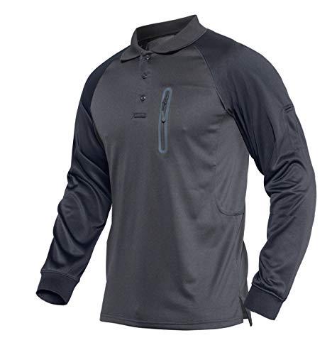 KEFITEVD Tactical Shirt Herren Langarm mit Stifttaschen Jagdhemd Frühling Sommer Poloshirt Atmungsaktiv Safari Shirt Männer Sportshirt Dunkelgrau 3XL