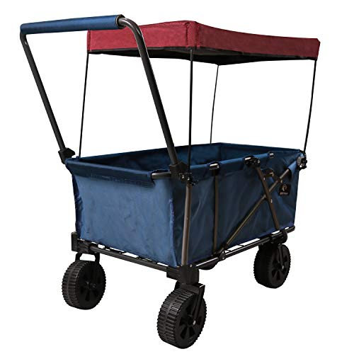 REDCAMP Collapsible Wagon Cart,1200D Removable Canvas & Brake Wheel, Folding Utility Wagon All Terrain Outdoor Sports, with Cooler Bag, Blue