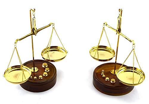 Zzaoxin Balanza electrónica Juego de 2 básculas Decorativas de latón con báscula de Base de Madera