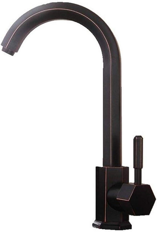 Wasserhahn Küche Waschbecken Badezimmer Alle Kupfer schwarz l gebürstet Deck montiert Single Hangle kalt und hei