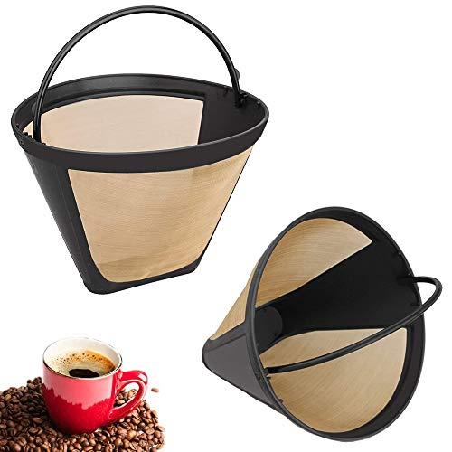 2 Piezas Malla Filtro de Café, Filtro Café Reutilizable, Filtro de Café Permanente, Acero Inoxidable Permanente Reutilizable Red Fina con Mango para Mayoría Cafeteras (Dorado)