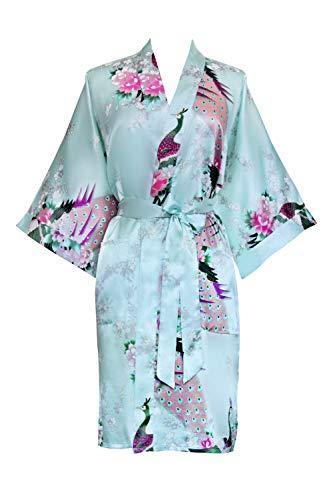 Old Shanghai Women's Kimono Short Robe - Peacock & Blossoms - Aqua,one size