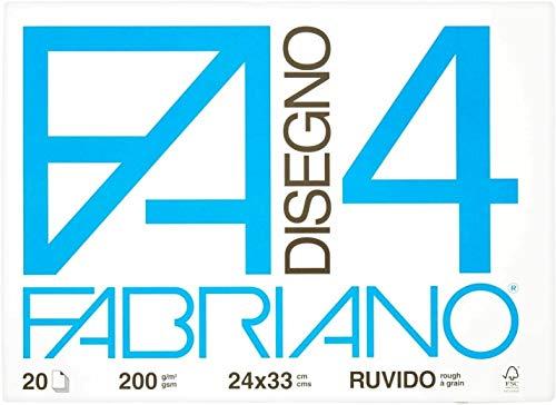 Fabriano F4 Ruvido Album da Disegno, 24 x 33 cm, Set da 2 Blocchi