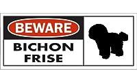 BEWARE BICHON FRISE ワイドマグネットサイン:ビションフリーゼ Sサイズ