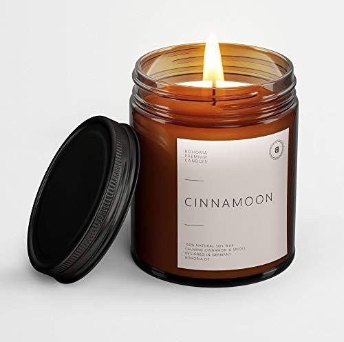 BOHORIA® Premium Wohlfühl-Kerze aus natürlichem Sojawachs – Enthält natürliche ätherische Öle – Duftkerze (Cinnamoon)